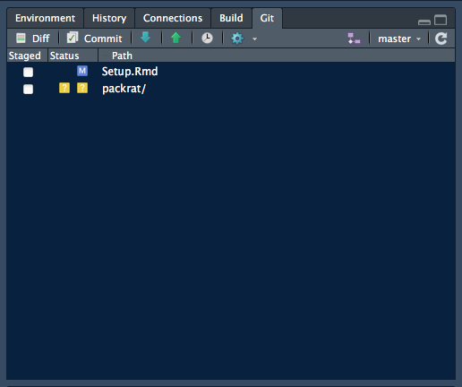 Above: The Git pane showing changes during work on this .Rmd file