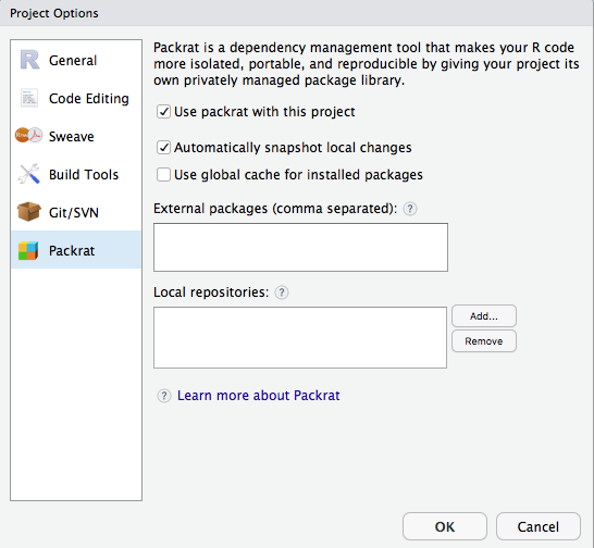 Above: The Packrat Options window sets up packrat to manage project packages.